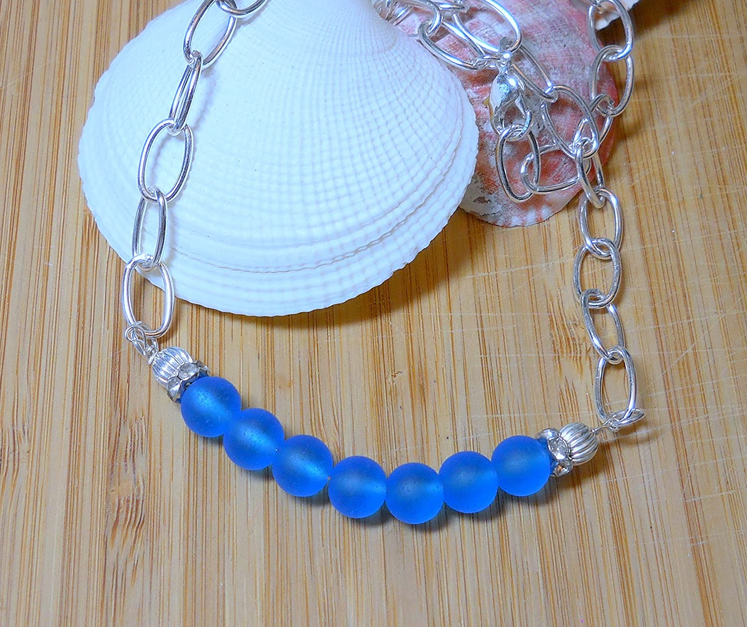 Blue sea glass necklace with chunky silver chain by BethExpressions