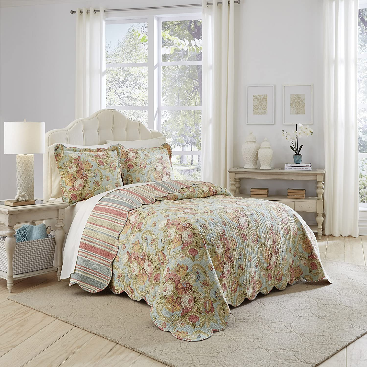 WAVERLY Spring Bling Bedspread Collection, 96x110, Vapor Ellery Homestyles 15967BEDDQUEVPR