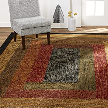 Amazon Com Home Dynamix Vega Modern Area Rug Geometric Black Brown Red 3 7 X 5 2 Furniture Decor