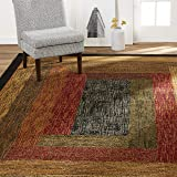 "Home Dynamix Vega Modern Area Rug, Geometric Black/Brown/Red 5'2""X7'2"""