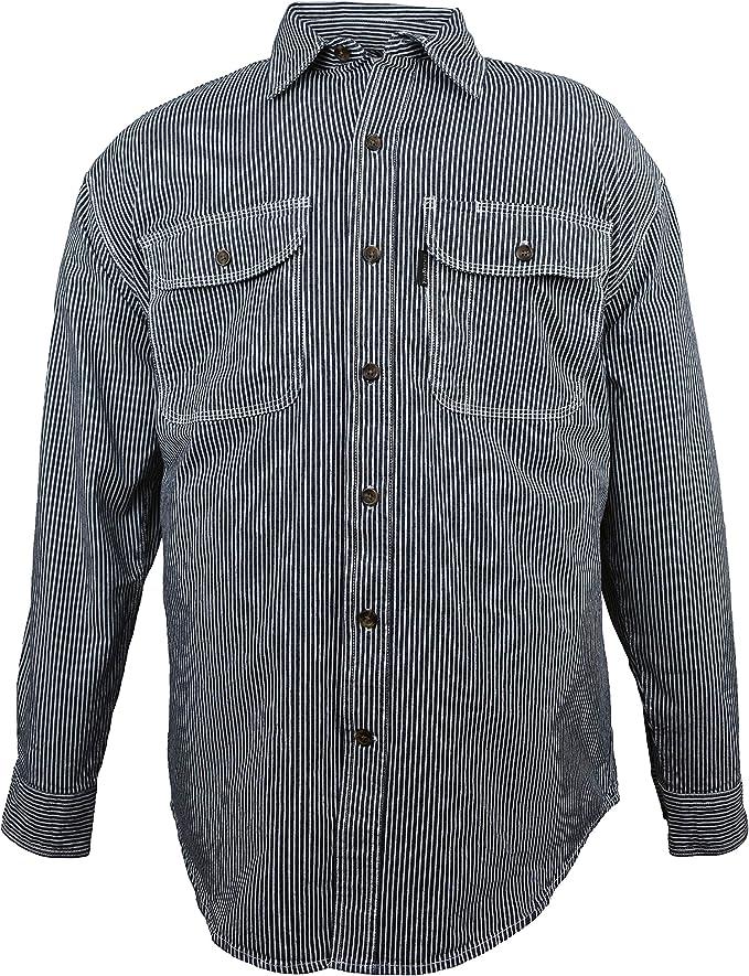 Edwardian Men's Fashion & Clothing 1900-1910s Five Brother Mens Flex-Denim Long Sleeve Hickory Stripe Logger Shirt | Button Front $39.95 AT vintagedancer.com