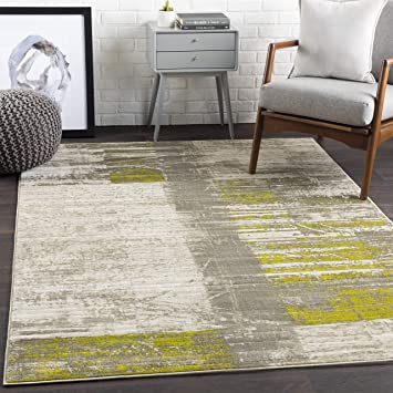 Amazon Com Albertha Gray Olive Green And White Modern Area Rug 5 2 X 7 6 Kitchen Dining