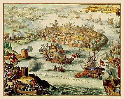 Amazon Com Old Greece Map Nafplio Conquest De Hooghe 1686 23