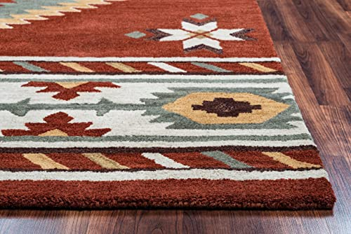 Rizzy Home Collection Wool Area Rug, 8 x 10 , Rust Khaki Navy Sage Off White Southwest Tribal