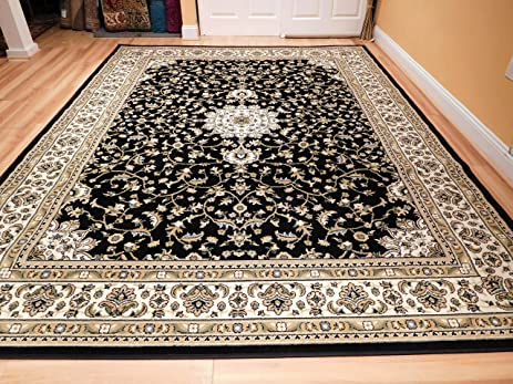 Traditional Rugs Medallion 8x10 Area Clearance Black Cream Beige Green Persian For Living Room