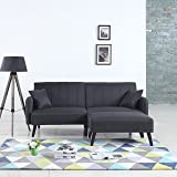 Mid-Century Modern Linen Fabric Futon Sofa Bed, Living Room Sleeper Couch (Dark Grey)