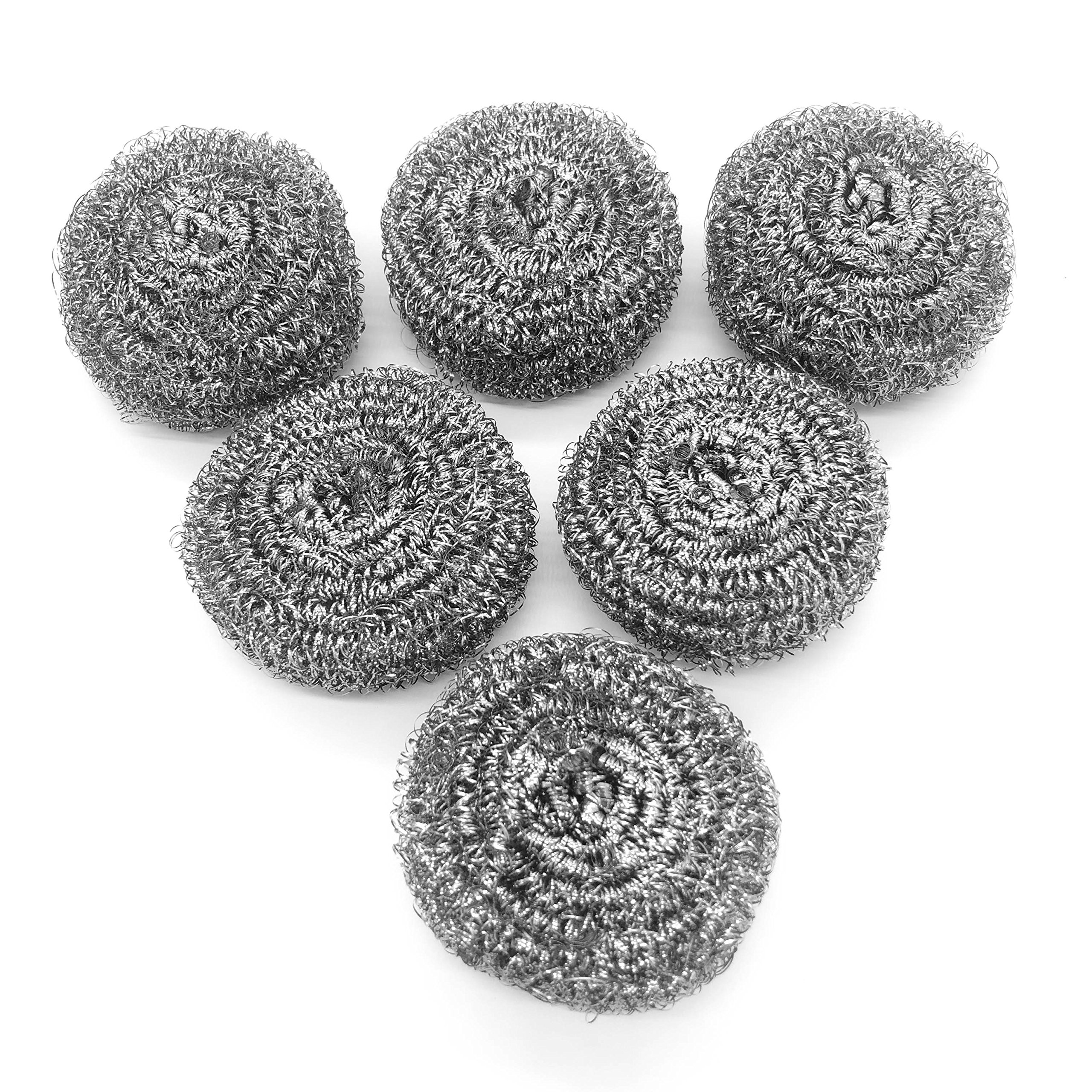 6 Pack Stainless Steel Sponges, Scrubbing Scouring Pad, Steel Wool Scrubber for Kitchens, Bathroom and More