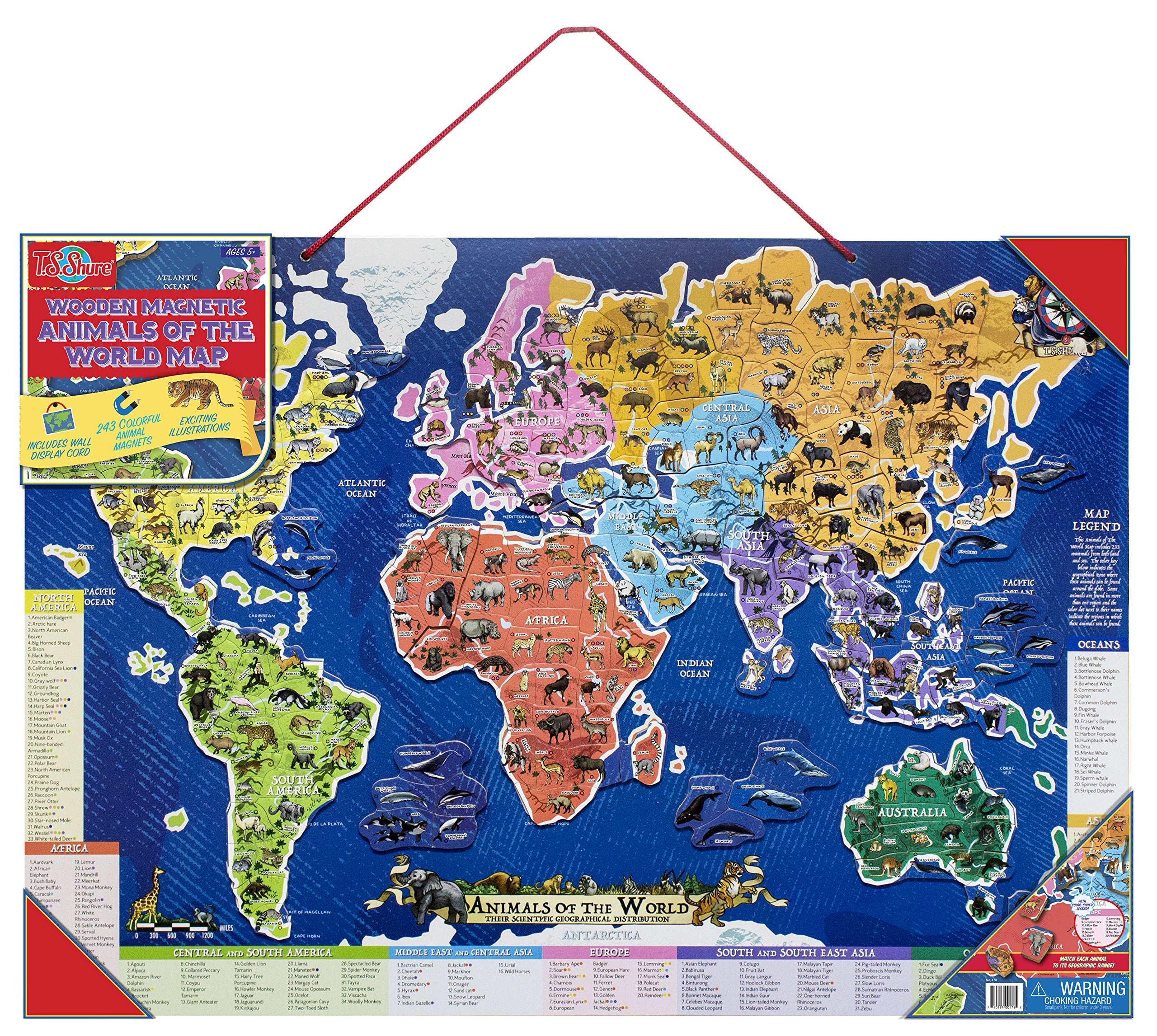T.S. Shure Animals of the World Wooden Magnetic Map Puzzle