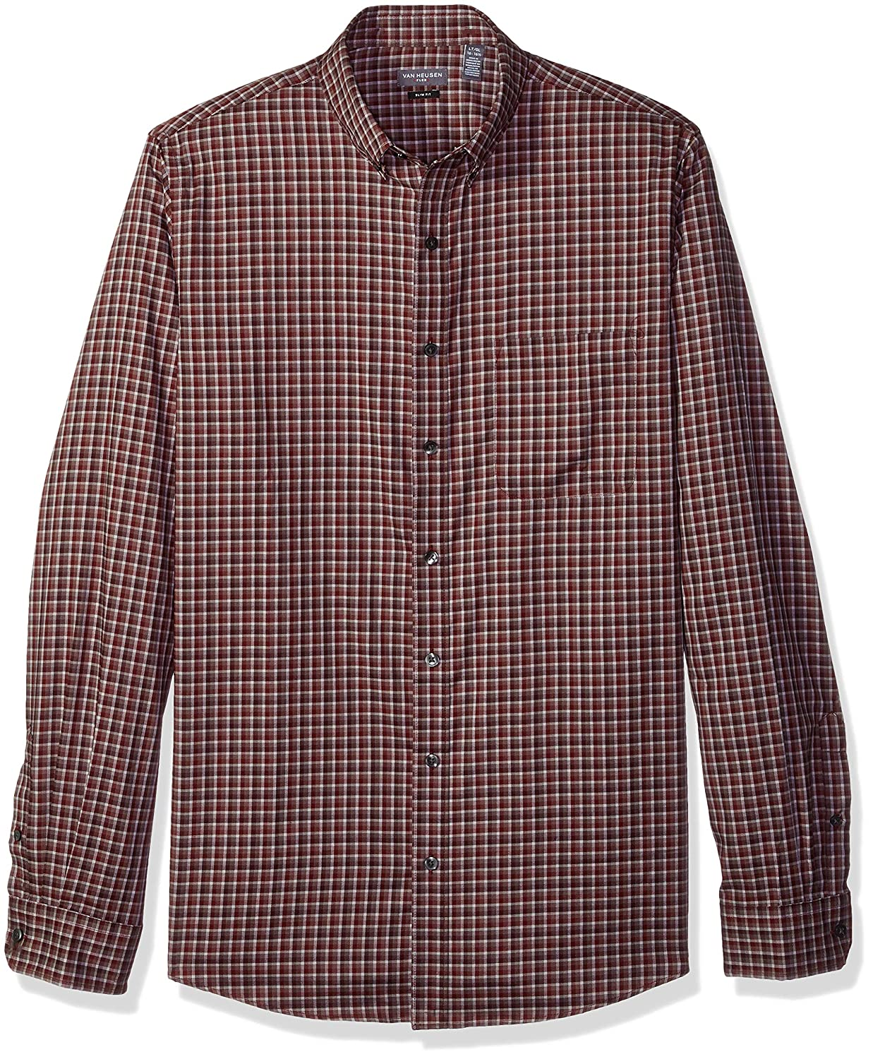 Van Heusen Mens Big and Tall Slim Fit Flex Long Sleeve Button Down Stretch Check Shirt