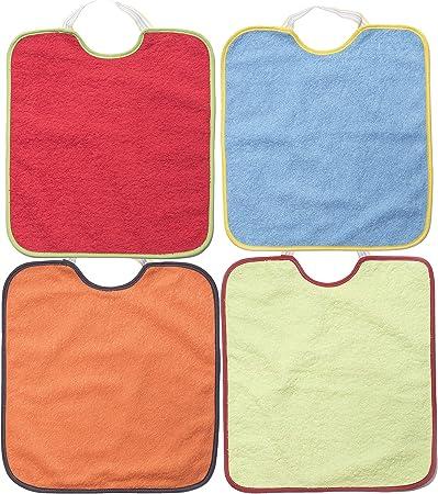 ✔ Pack de 4 baberos impermeables para bebé. Cierre con goma,✔ Material: 90% Algodón, 10% Poliester.