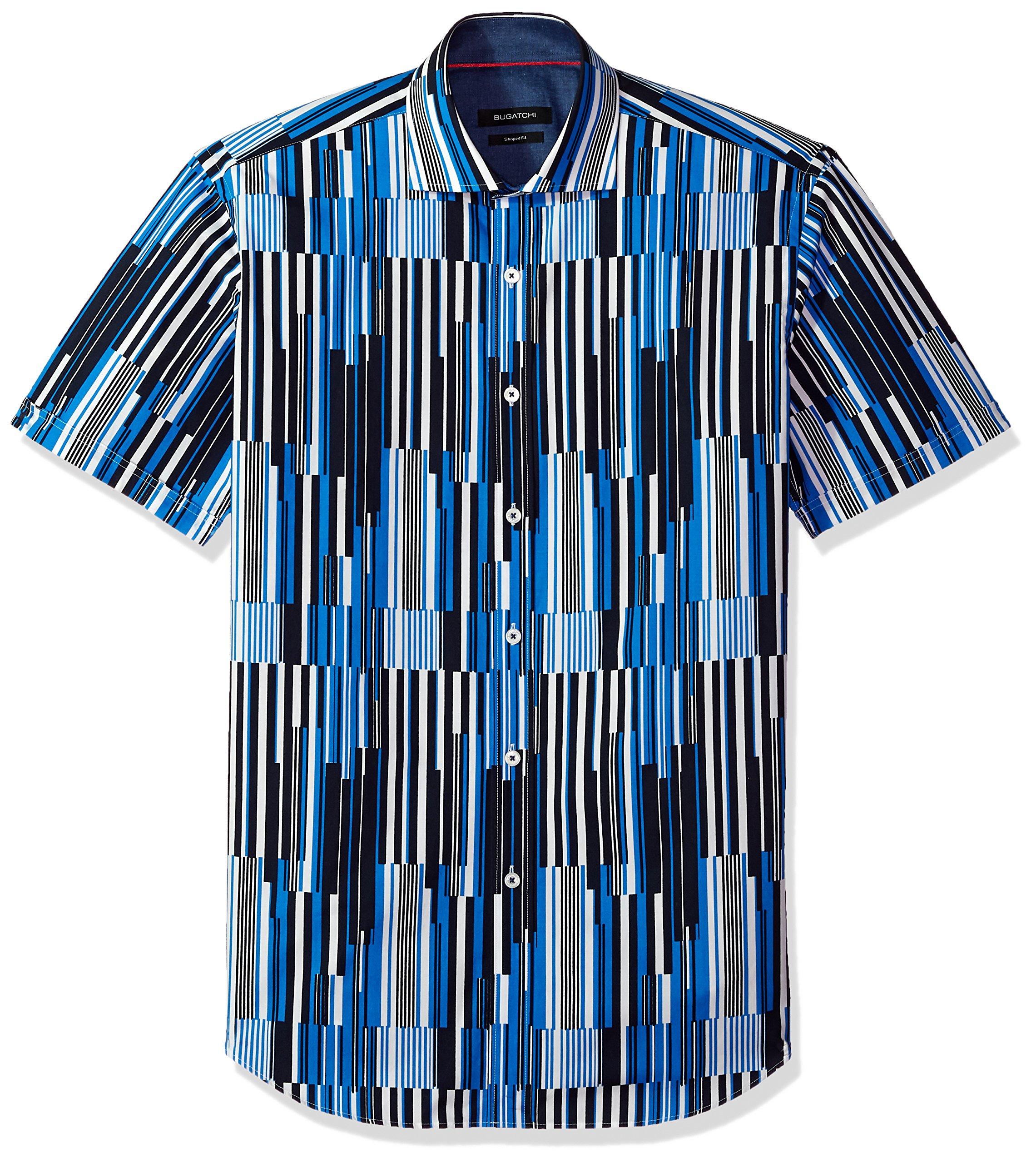 Bugatchi Men's Fitted Digital Stripes Printed Short Sleeve Cotton Shirt, Classic Blue, XXL