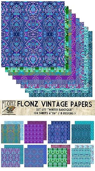 Paper Pack (24blatt 15x15cm) Winter Baroque Muster FLONZ Vintage ...