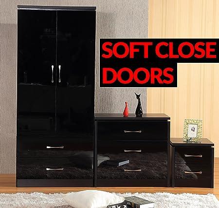Delvito PREMIUM SOFT CLOSE High Gloss 3 Piece Bedroom Furniture Set   2  Drawer Wardrobe,