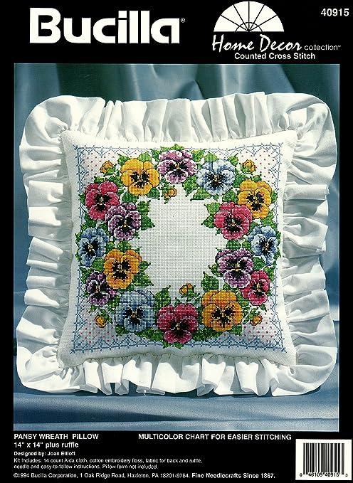 Bucilla Pansy Wreath Pillow Counted Cross Stitch Kit 40915
