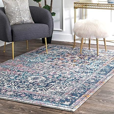 Amazon Com Nuloom Lilah Medallion Vintage Area Rug 8 10 X 12 Blue Furniture Decor