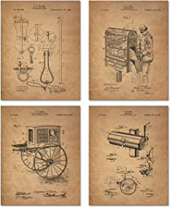 Mailman Patent Prints - Set of Four Postal Worker 8 x 10 Photos Vintage Wall Decor - Mail Person