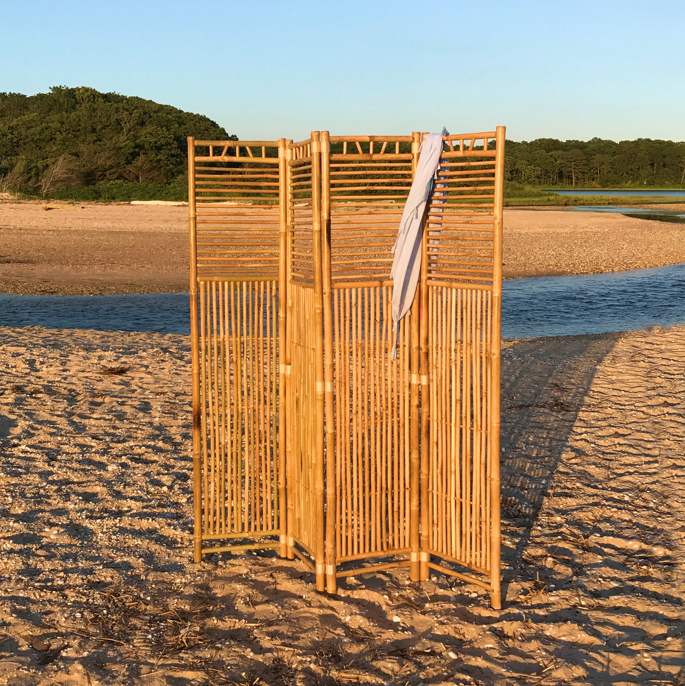 The Key West Room Divider, 4 Panels, Vintage Island Style, Natural Bamboo, Tortoise Shell Finish, Over 6 Ft Tall and 5 Ft Wide, By Whole House Worlds