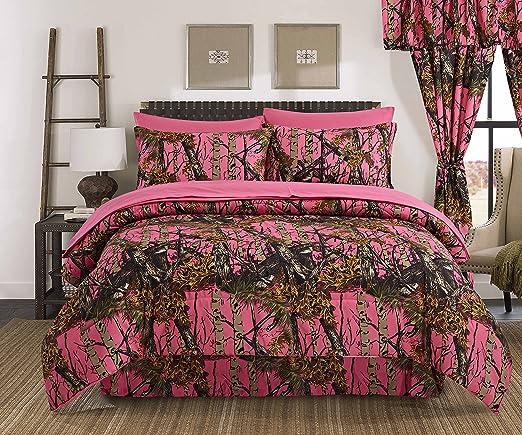 Hi Viz Pink THE WOODS WOODLAND CAMO Full-Queen COMFORTER-FREE SHIP