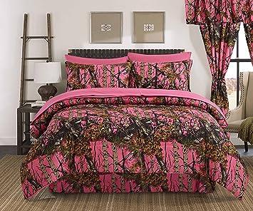 Regal Comfort The Woods High Viz Pink Camouflage Queen 4 Piece Premium  Luxury Comforter, Bed