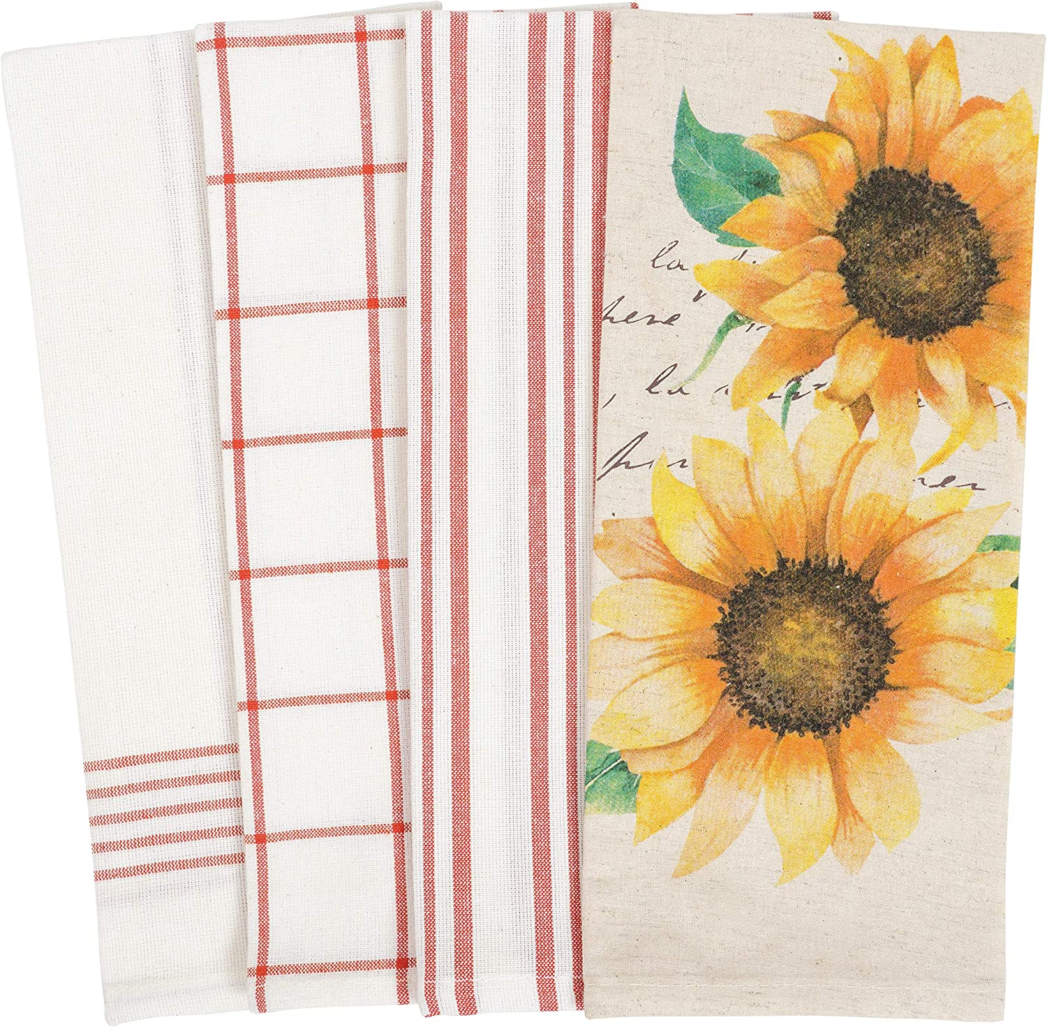 KAF Home Pantry Kitchen Holiday Dish Towel Set of 4, 100-Percent Cotton, 18 x 28-inch (Sunflower Script)