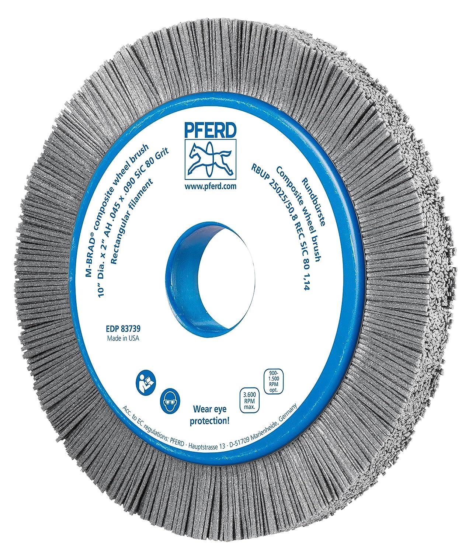 PFERD 83739 M-BRAD Composite Radial Wheel Brush 1-1//2 Trim Length 3600 rpm 2 Arbor Hole 1 Face Width Silicon Carbide Grain 80 Grit 10 Diameter 2 Arbor Hole 1-1//2 Trim Length 1 Face Width PFERD Inc. 10 Diameter