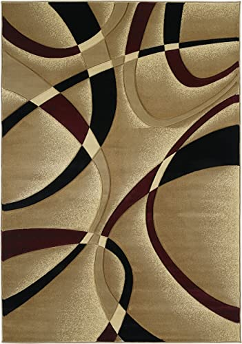 United Weavers Contours Collection La Chic 7-Feet 10-Inch by 10-Feet 6-Inch Heavyweight Heatset Olefin Rug, Burgundy