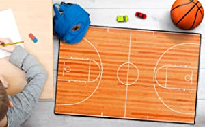 """Brumlow MILLS Basketball Court Sports Theme Area Rug for Teens Bedroom, Kids Playroom or Classroom Accent Rug, 2'6"""" x 3'10"""" (EW10162-30x46)"""