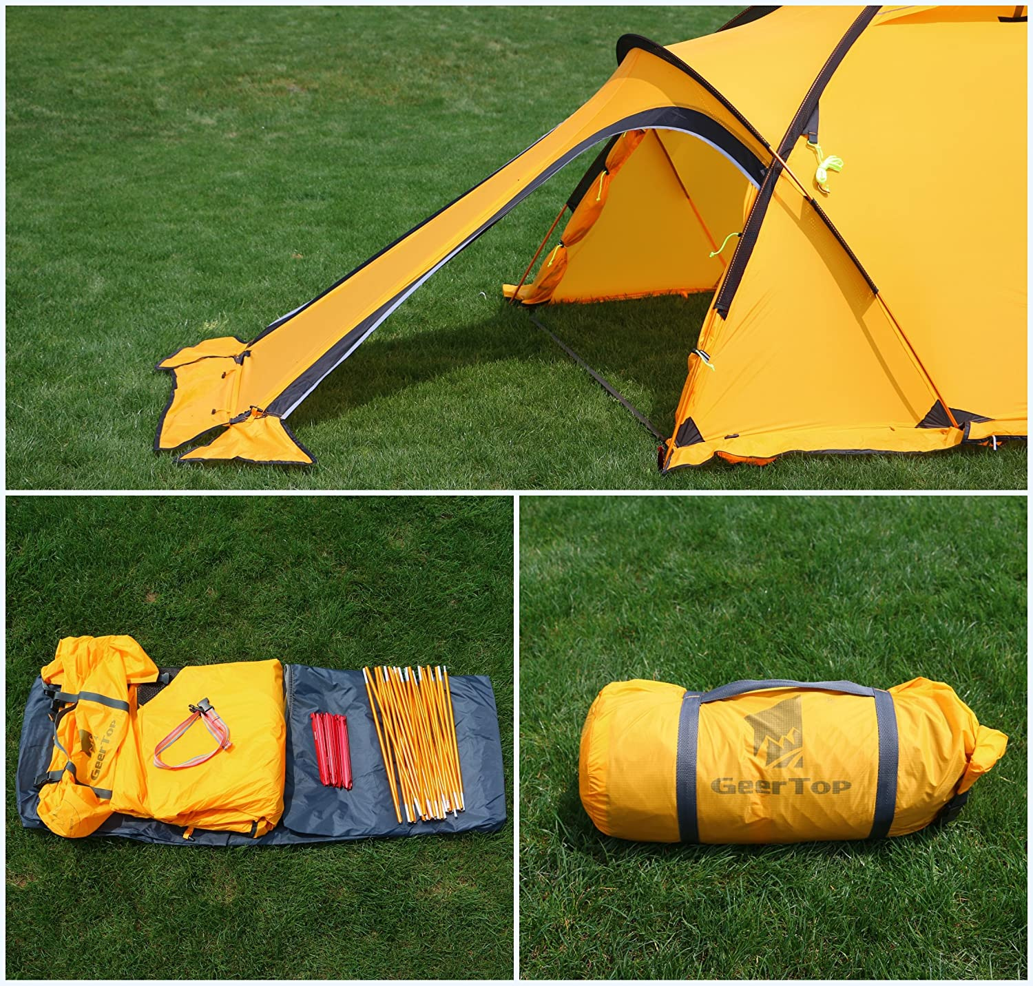 GEERTOP® 4-season 2-person 20D Lightweight Backpacking Alpine Tent For C&ing Hiking Climbing Travel - With A Living Room (Yellow) Amazon.co.uk Sports ...  sc 1 st  Amazon UK & GEERTOP® 4-season 2-person 20D Lightweight Backpacking Alpine Tent ...