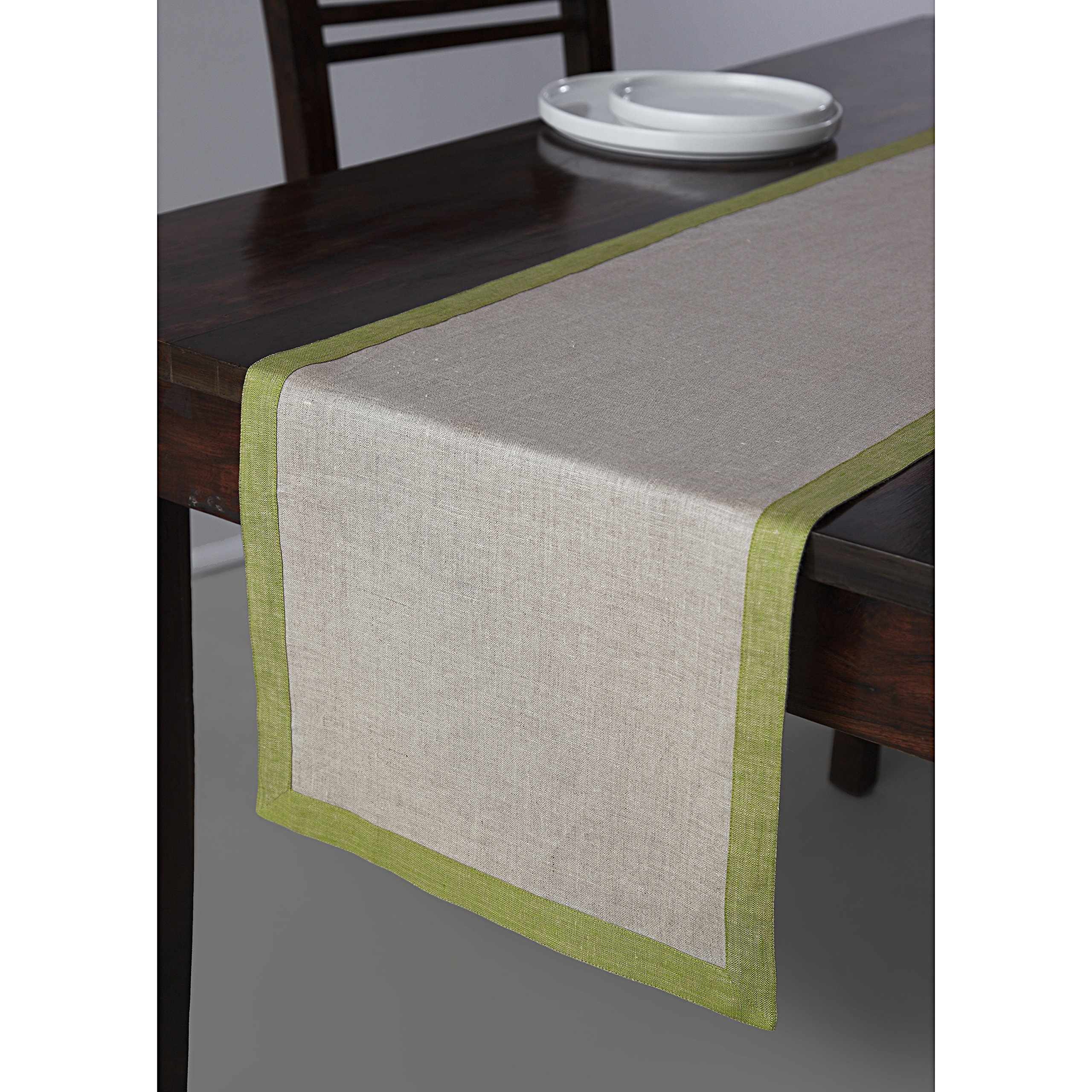 Solino Home Linen Table Runner - 14 x 48 Inch, Natural Olive Rectangular Runner - 100% European Flax, Concordia