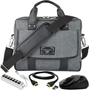 "Laptop Messenger Briefcase Bag 10"" to 12-inch, USB Hub, Mouse, HDMI Cable for Acer Chromebook, TravelMate, Spin, Aspire"