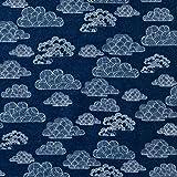 MIRABLAU DESIGN Stoffverkauf Bio Baumwolle Flanell GOTS Wolken dunkelblau (16-041M), 0,5m