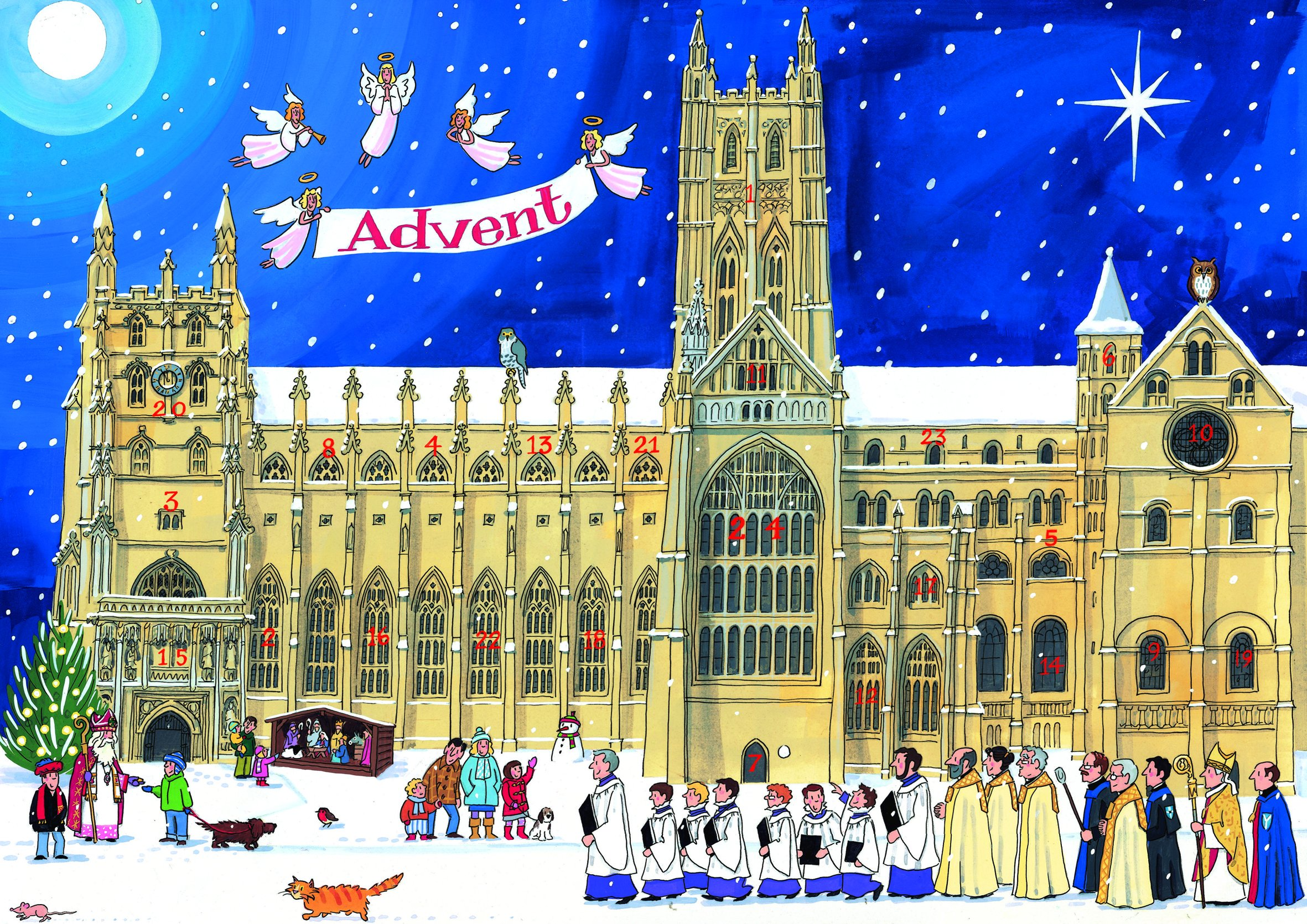 Alison Gardiner Famous Illustrator Unique Traditional Advent Calendar  - Designed in England - Festive Scene at a Cathedral