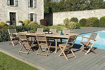 MACABANE 509611 Salon de Jardin Couleur Naturel/Taupe en Teck et ...