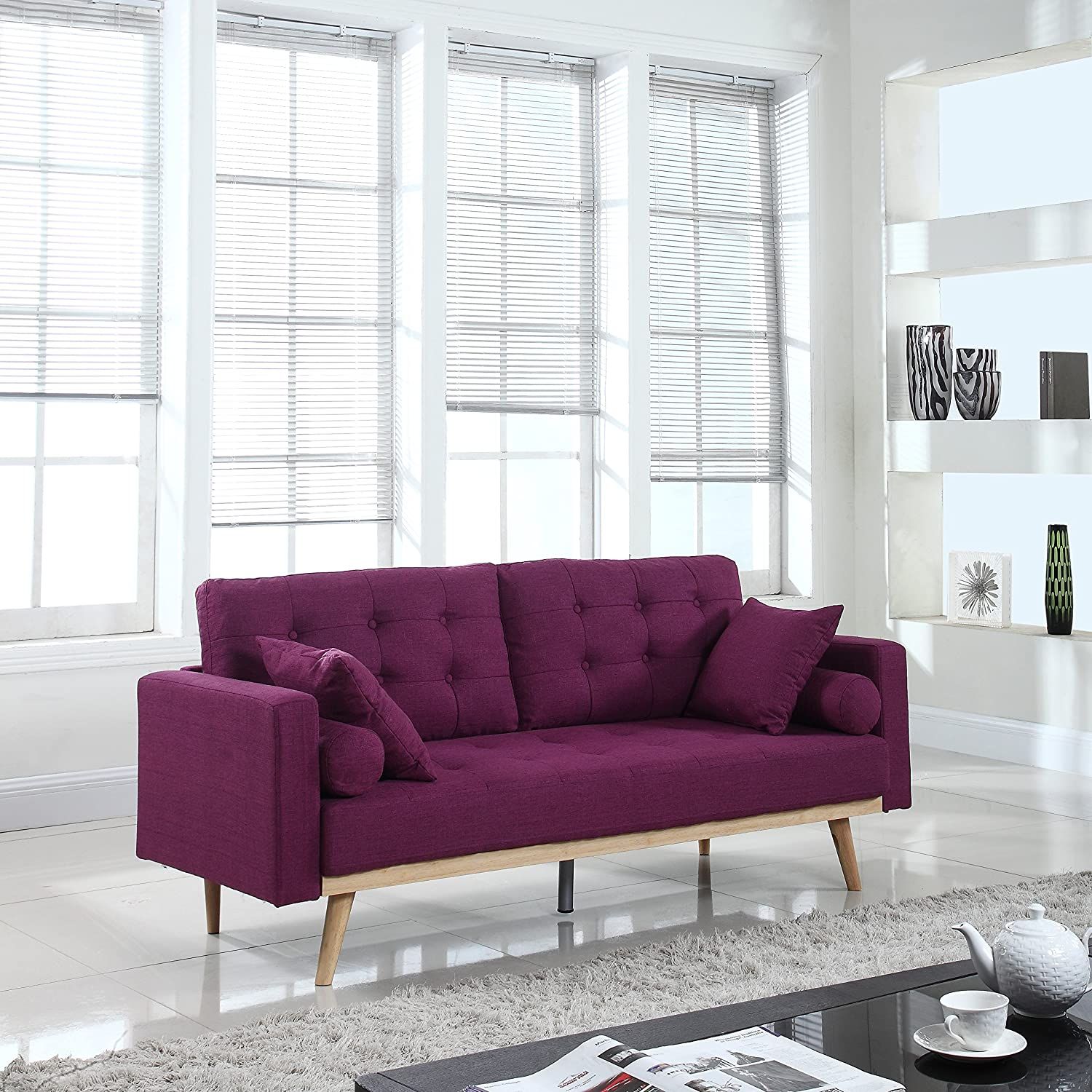 Amazon com divano roma furniture mid century modern tufted linen fabric sofa purple kitchen dining