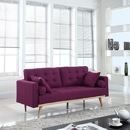 Superbe Divano Roma Furniture Mid Century Modern Tufted Linen Fabric Sofa (Purple)