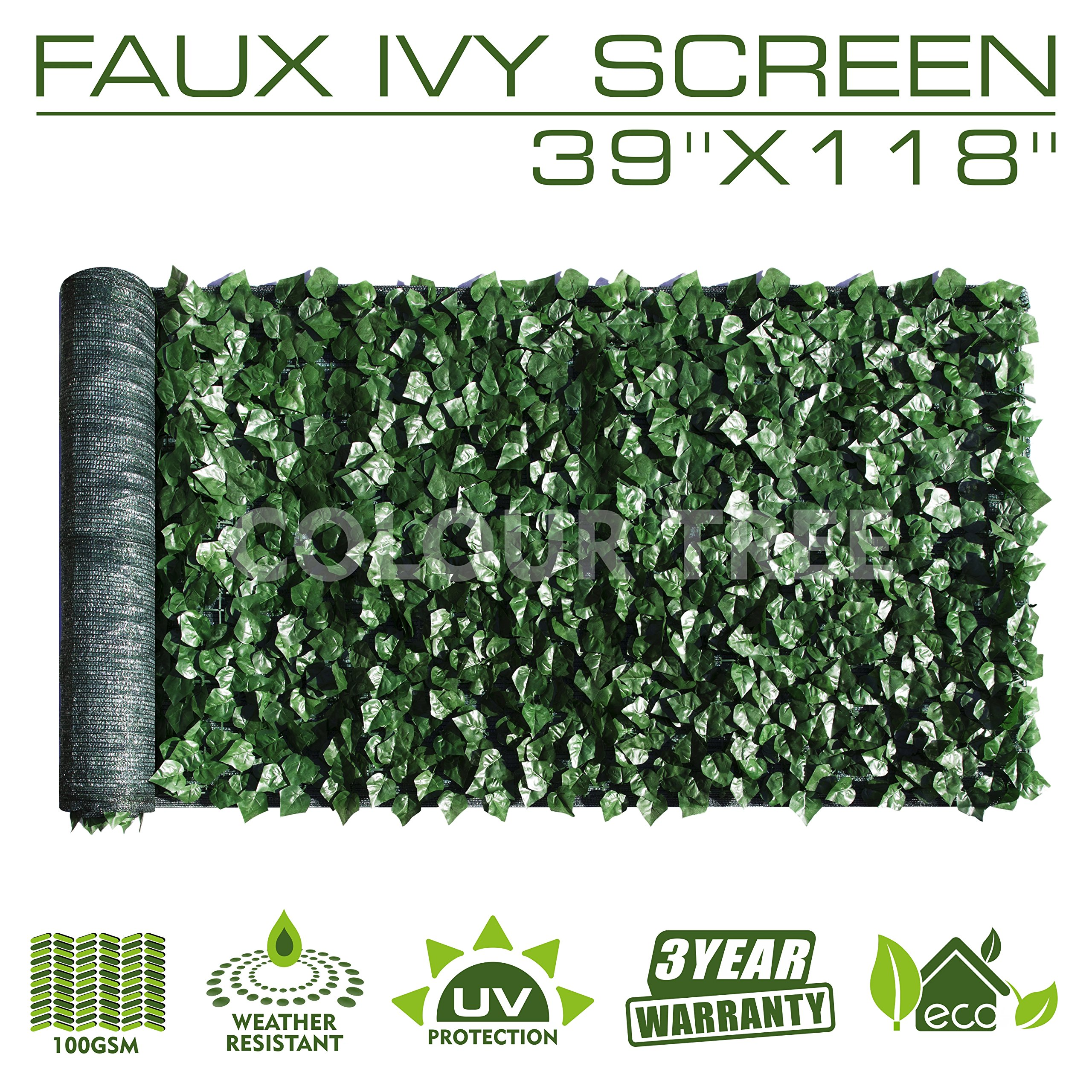 ColourTree Artificial Hedges Faux Ivy Leaves Fence Privacy Screen Panels Decorative Trellis - Mesh Backing - 3 Years Full Warranty (39'' x 118'')