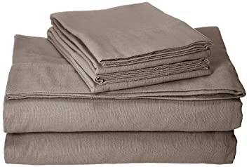 Tribeca Living Luxury Solid Flannel Deep Pocket Sheet Set California King Taupe