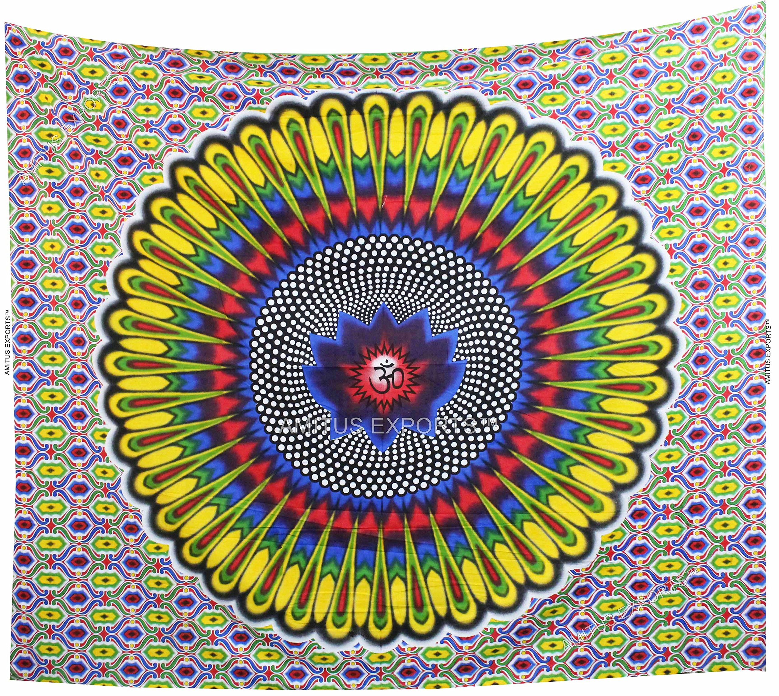 Amitus Exports(TM) Premium Quality 1 X Om Brush Painting 89''x82''(Approx.) Inches Multi Color Cotton Fabric Tapestry Hippy Indian Mandala Throws (Handmade In India)
