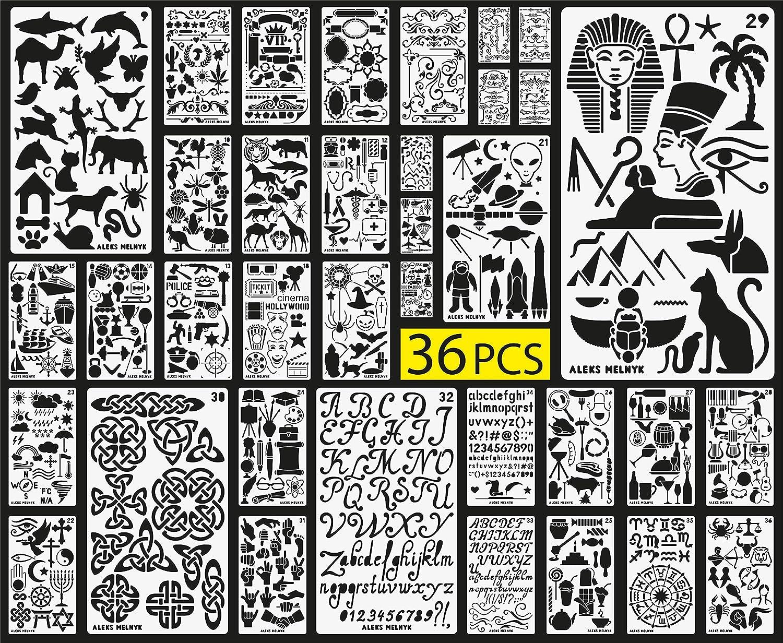 Aleks Melnyk Bullet Journal Stencil Plastic/36 PCS Planner Set per Journal/Forniture/Diario/Notebook/Scrapbook Disegno fai da te/Alfabeto, Lettera, Numero, ABC/Template Stencil diario 4x7 pollici