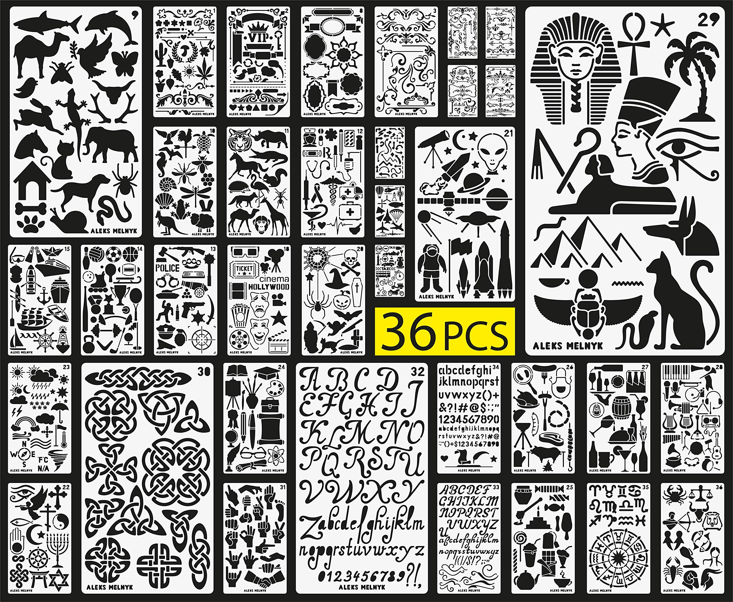 Aleks Melnyk Plastic Stencils/36 PCS Planner Set for Journal/Supplies/Diary/Notebook/Scrapbook DIY Drawing/Template Journal Stencils 4x7 inch by Aleks Melnyk