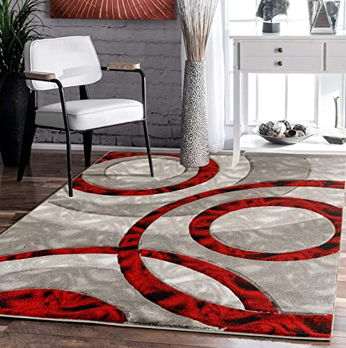 Glory Rugs Area Rug Modern 8×10 Light red Circles Geometry Soft Hand Carved Contemporary Floor Carpet Fluffy Texture