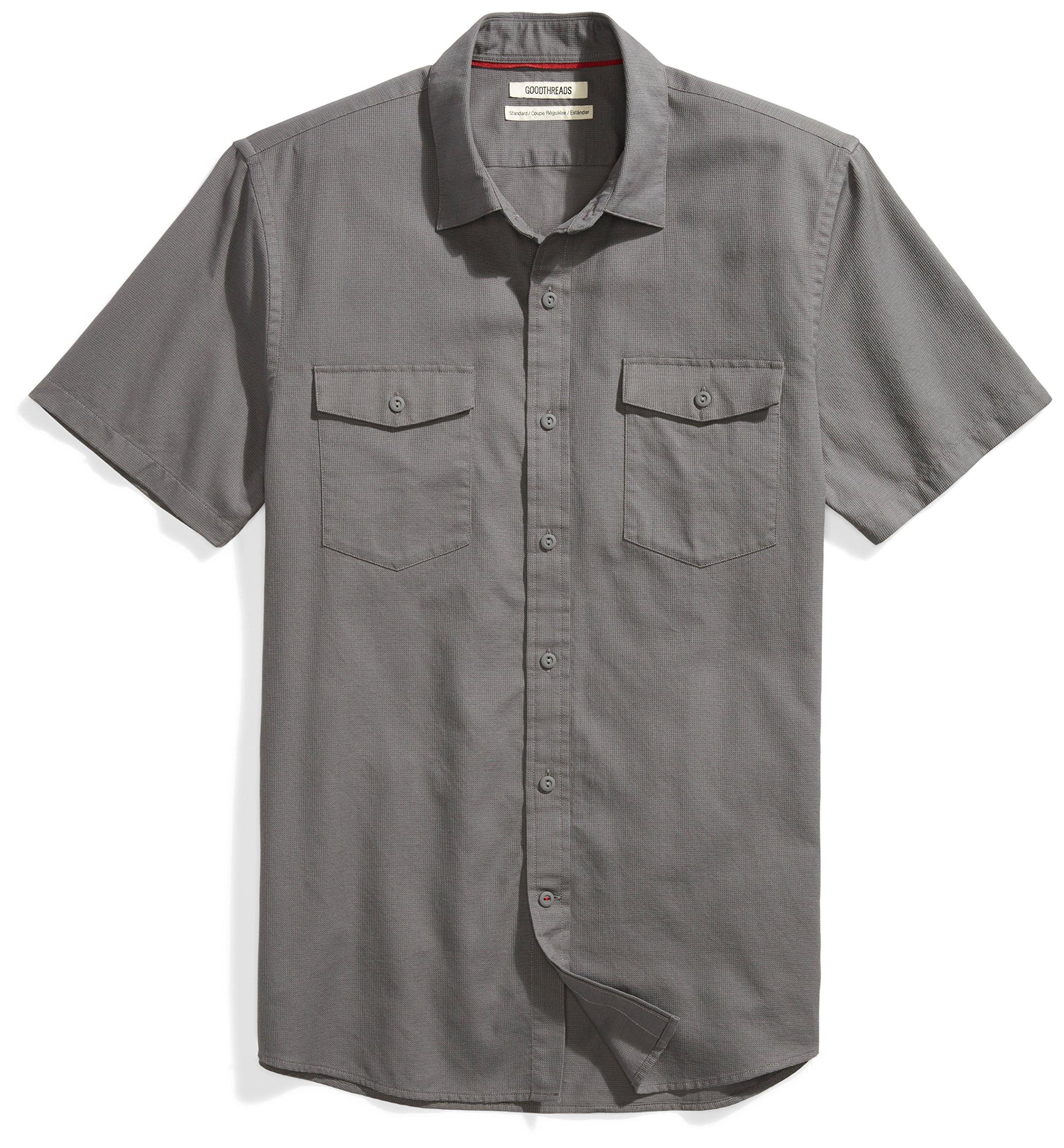 Goodthreads Men's Standard-Fit Short-Sleeve Ripstop Dobby Shirt, Grey, X-Large