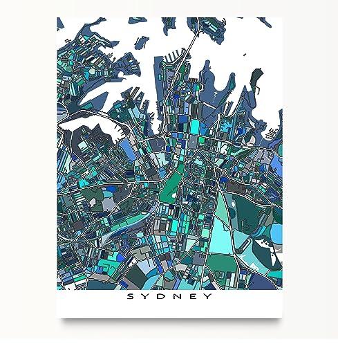 sydney map art australia city map poster print