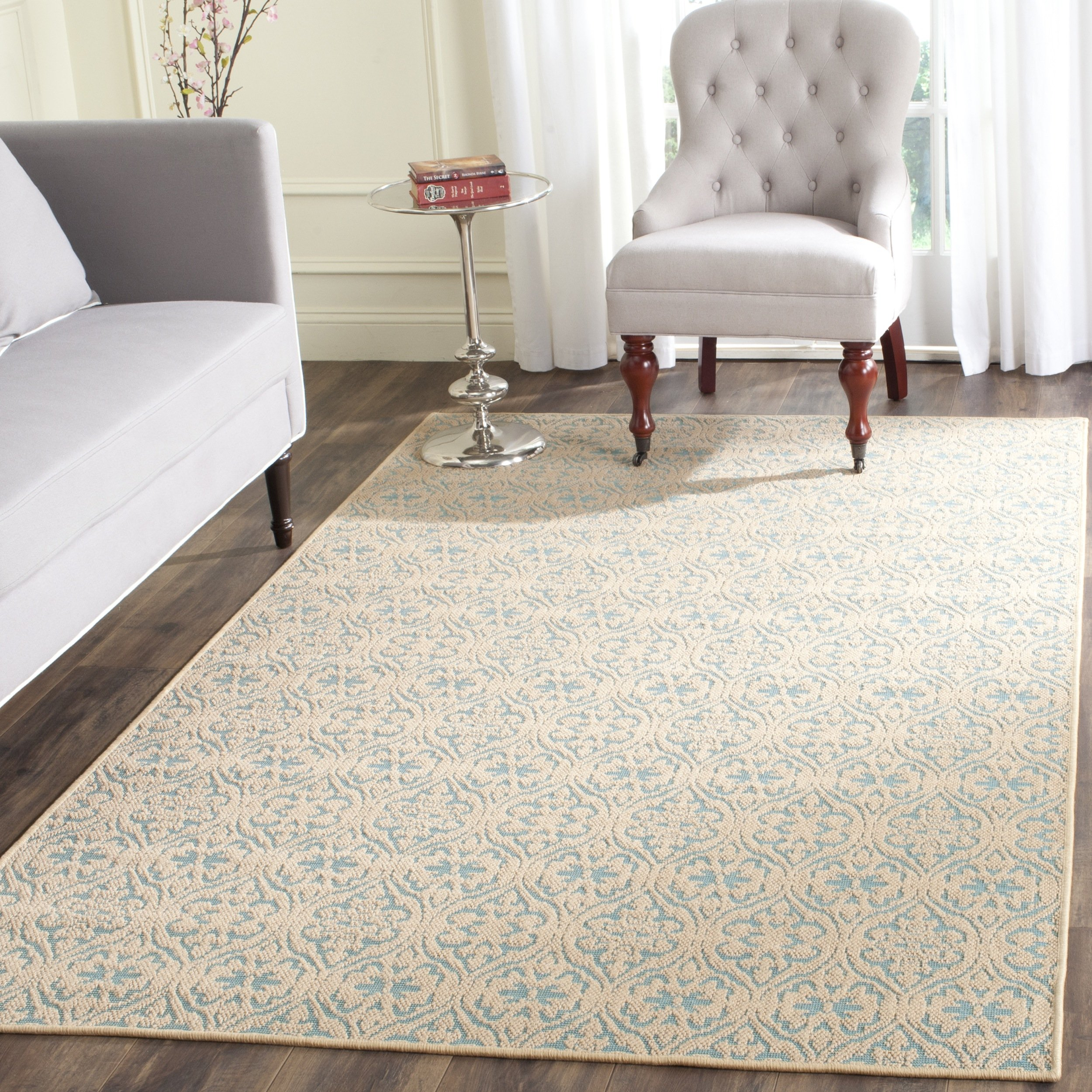 Safavieh Palm Beach Collection PAB511A Hand Woven Natural and Turquoise Jute Area Rug (8' x 11')