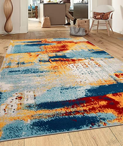 """Rugshop Sky Collection Novel Abstract Area Rug 7'10"""" x 10' Multi"""