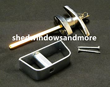 Shed Door T Handle Lock Set 4 1/2u0026quot; Chrome Finish