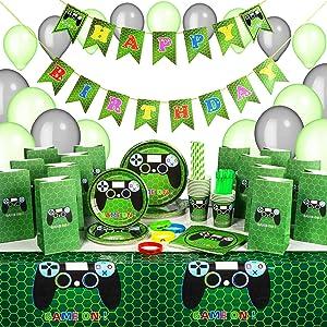 Kidohub Gaming Party Supplies For Boys - Gamer Birthday Party Supplies - Video Game Party Supplies - 185 Pieces Bundle Pack Serves 16 Guests