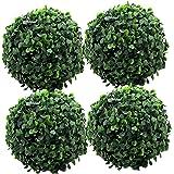 Fourwalls 17cm Artificial Green Eucalyptus Topiary (Set of 4, Green)