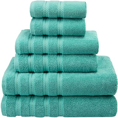 American Soft Linen Premium, Luxury Hotel & Spa Quality, 6 Piece Kitchen and Bathroom Turkish Towel Set, Cotton for Maximum Softness and Absorbency, [Worth $72.95] Turquoise Blue