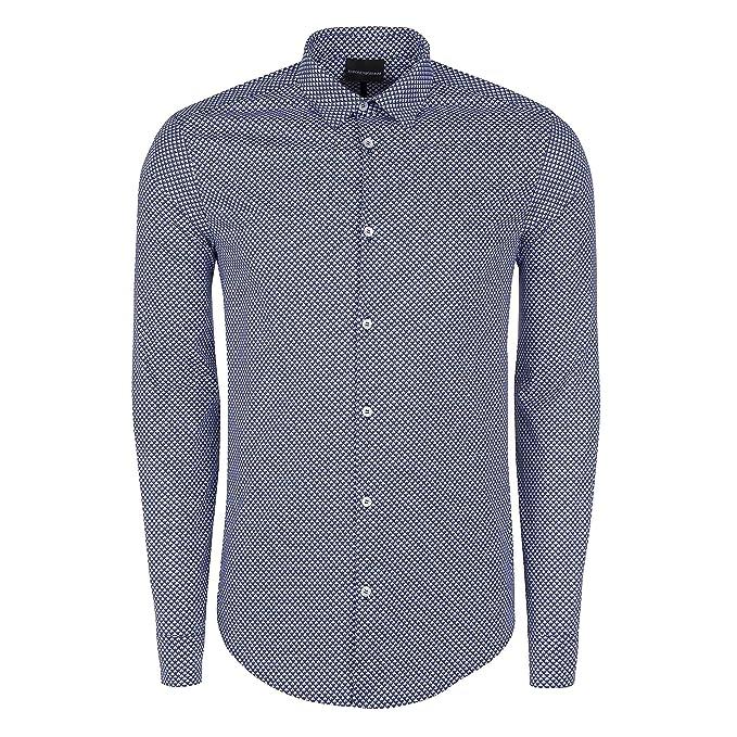 big sale 4c9cd e05d6 Armani Uomo Camicia Slim Fit in Stampa Geometrica Fantasia ...